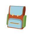cartoon schoolbag icon schools supplies vector image