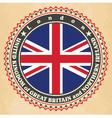 Vintage label cards of United Kingdom flag vector image