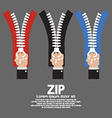 Zip With Hand Collection vector image