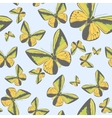 Summer seamless pattern with yellow butterflies vector image