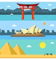 Skylines design with landmarks Japan Australia vector image