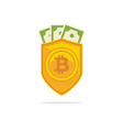 bitcoin trust symbol on the shield line icon vector image