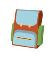 cartoon schoolbag icon schools supplies vector image
