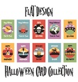 Flat Design Halloween Card Collection vector image