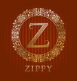 golden logo template for zippy boutique monogram vector image