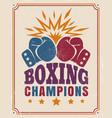 intage poster for a boxing vector image