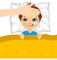 little boy ill in bed with thermometer in mouth vector image