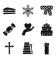 religious holiday icons set simple style vector image