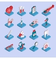 Set of flat isometric 3d medical healthcare icons vector image