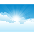 Sky with clouds and sun rays background vector image