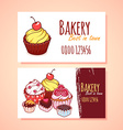 Two horizontal business card template for Pastry vector image