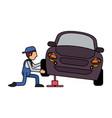 worker car workshop icon image vector image