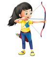 A young girl playing archery vector image vector image