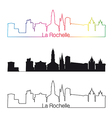 La Rochelle skyline linear style with rainbow vector image