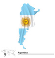 Map of Argentina with flag vector image vector image