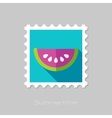 Watermelon Slice flat stamp with long shadow vector image