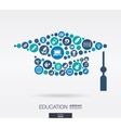 flat icons in a graduation hat shape education vector image
