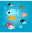 Colorful Fish with Bubbles in Blue Water vector image