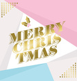 Gold merry christmas greeting card design vector image