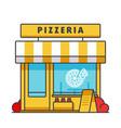pizzeria building flat line concept vector image