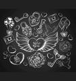 valentines day engravind set with envelope hear vector image