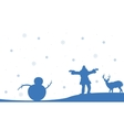 Silhouette of people snowman and deer Christmas vector image