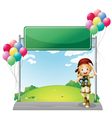 A girl with a telescope near the empty signage vector image vector image