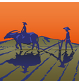 Asian peasants work on a rice plantation vector image