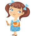 little schoolgirl isolated vector image