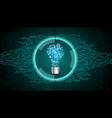 light bulb on blue abstract technology background vector image