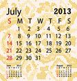 july 2013 calendar albino snake skin vector image vector image