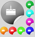 Birthday cake icon sign Set of eight multi colored vector image