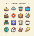 pixel icons-travel 1 vector image vector image