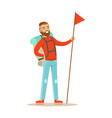 young man traveler standing with backpack and vector image
