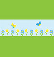 horizontal background with butterflies and flowers vector image vector image