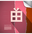 Abstract Paper Present Gift Box on Pink Torn Paper vector image