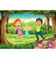 A forest with a happy family vector image vector image