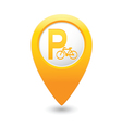 parking bicycle symbol map pointer yellow vector image vector image
