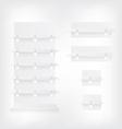 Empty white shop shelves and wobbler vector image vector image
