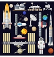Spacecraft and space technology industry for vector image