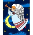 Angel with a flute flying on the background of sky vector image