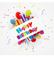 Birthday greeting card with gift box and confetti vector image