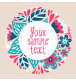 Bright background with circular floral frame and vector image