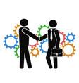 businessman shake hand on mechanism gears vector image