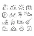 camping doodle icons vector image