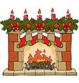 fireplace xmas vector image