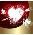Red design with hearts and Cupid vector image