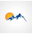 rocky high mountain sun logo vector image