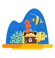 flat style of aquarium with corals vector image