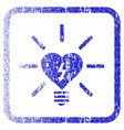 heart electric bulb framed textured icon vector image